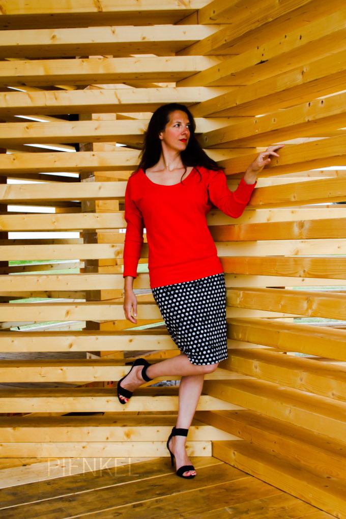 Pienkel Delia Creates Knit Pencil Skirt polkadot
