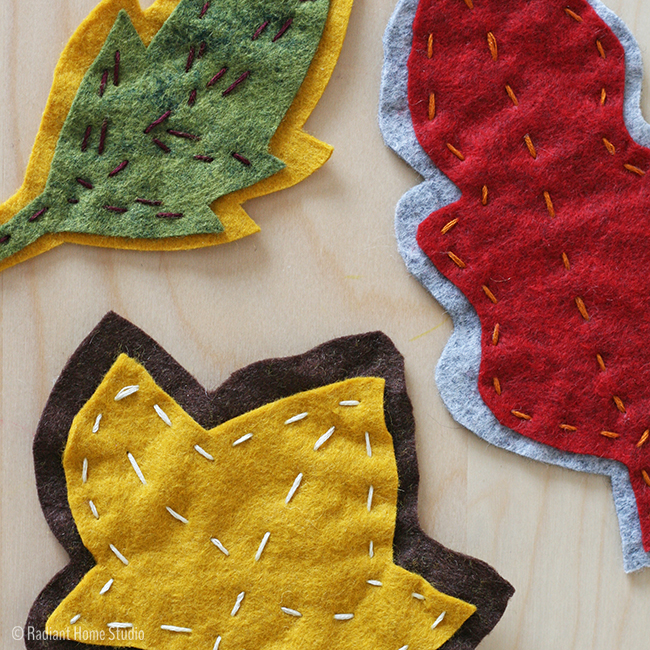 Radiant Home Studio - Embroidered Autumn Leaves Garland